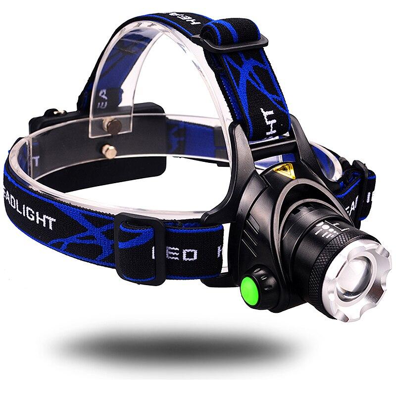 Işıklar ve Aydınlatma'ten Kafa Lambaları'de Zumlanabilir kafa el feneri avcı ışığı su geçirmez şarj edilebilir 10W T6 LED far 2*18650 lityum pil title=