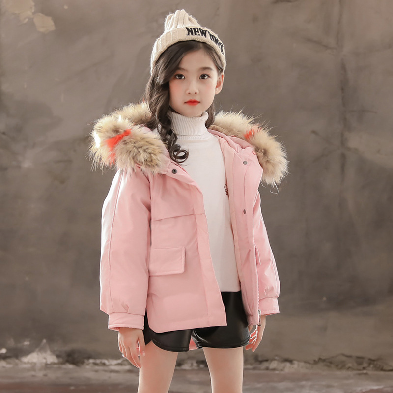New Winter Girls Coats Jackets Fashions for Children Real Hair Collar Cotton Coats Outerwear 5 6 7 8 9 10 Years