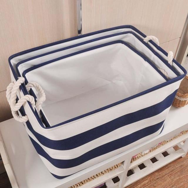 ZAKKA Style Navy Stripe Washing Clothes Laundry Canvas Cotton Fabric  Organizer Barrels Laundry Storage Basket For