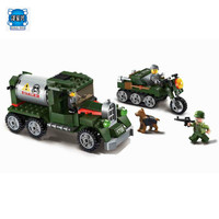 223pcs Enlighten Building Block Military Battle Land Force Intercept Transport Team 3 Figures Educational Bricks Lepins Toy Boy