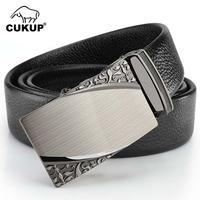 CUKUP New Designer Men's Real Quality Genuine Leather Belts Print Pattern Automatic Buckle Male Belt Accessories for Men ZDCK026