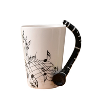 2017 Big Sales Ceramic Music Score Design Cups Mugs With Clarinet Hand Shank Coffee Cups