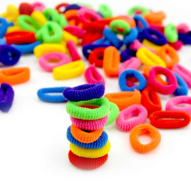 Großhandel 100 Pcs Bunte Kind Kinder Haar Halter Nette Gummi Haar Band Gummibänder Zubehör Mädchen Charme Krawatte Gum