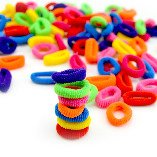 100 Pcs Colorful Child Kids Hair Rubber Bands