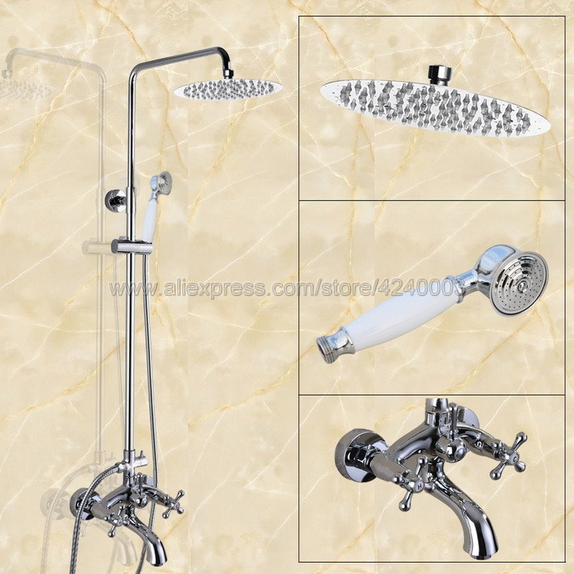 Polished Chrome Bathroom Shower Faucet Set Double Handle 8 Rainfall Shower System with Tub Spout + Handshower Kcy353
