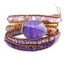 Healing Stone Wrap Bracelets Handmade For Women Natural Stone Beaded Leather Bracelet Genuine Leather 5 Strands Wrap Bracelet