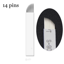 Stainless Steel Manual Pen Needle White14Needles Permanent Makeup Blade For Eyebrow Permanent Makeup 50PCS