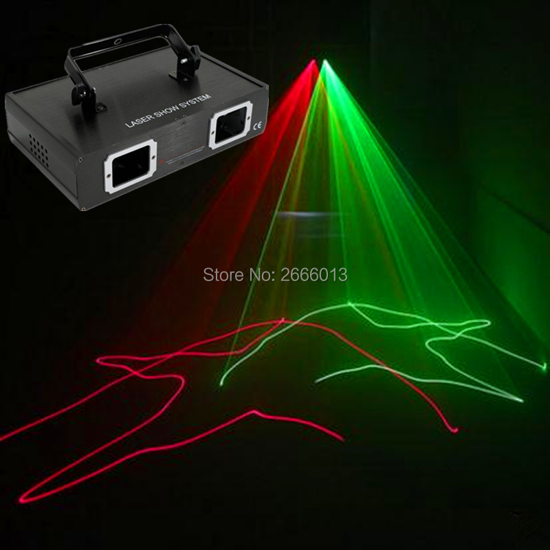 2 lens RG Laser LED Stage Lighting DMX512 DJ Show Light Green Red Home party KTV disco bar Professional Light with Free shipping 270mw full color laser lighting dmx sound auto dj disco club party stage light