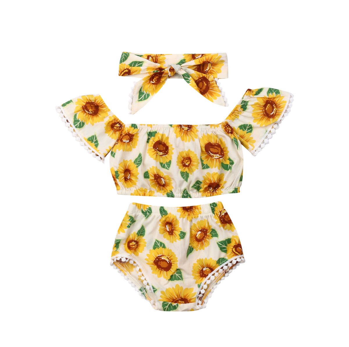 0-18 M Neugeborenen Baby Mädchen Sunflower Kleidung Off Schulter Quaste Ball Crop Tops Pumphose Shorts Stirnband 3 Pcs Baby Kleidung Set