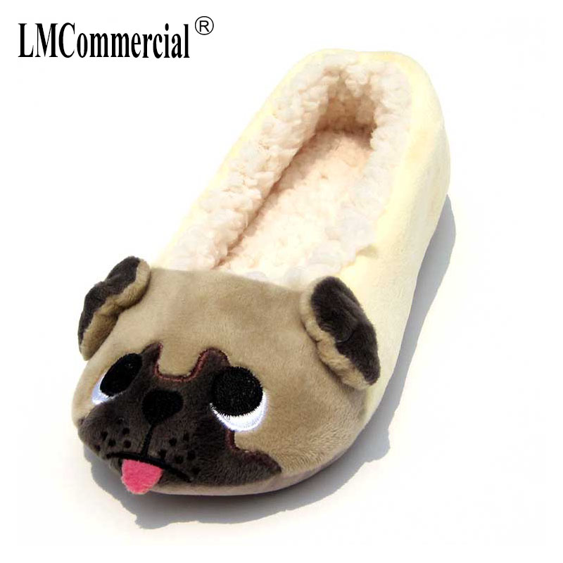 Adult Cool Glasses Pug House Slippers Comfort Winter Warm House Slipper Indoor Slip Shoes for women