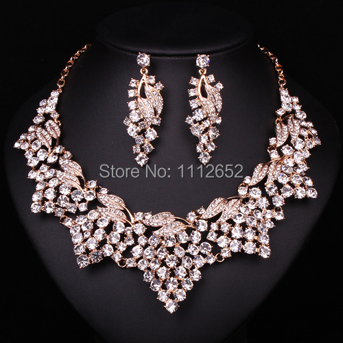 Fashion Clear Rhinestone Bridal Jewelry Sets Necklace earrings Gold