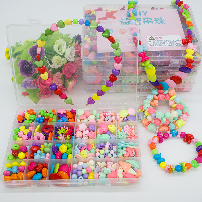 24 Color Girl Gift Beads Toys For Children Lacing Necklace Bracelet Needlework Material Bead Set Art And Craft Creativity New