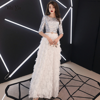 weiyin Robe de Soiree Long Evening Dress 2019 White Bling Sequins O neck Evening Gowns Floor length Lace Party Dresses WY1530