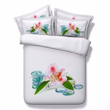 4pc korean white 3D printed scenery bedding queen comforter sets floral home texile 500TC cotton bedspread adult bed covers king(China)
