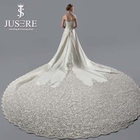 JUSERE Exquisite A Line Strapless Embroidery Real Pic 3 Meters Long Cathedral Train Satin Wedding Dress Veil Wedding Gown 2018