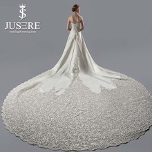 JUSERE Exquisite A-Line Strapless Embroidery Real Pic 3 Meters Long Cathedral Train Satin Wedding Dress Wedding Gown 2018