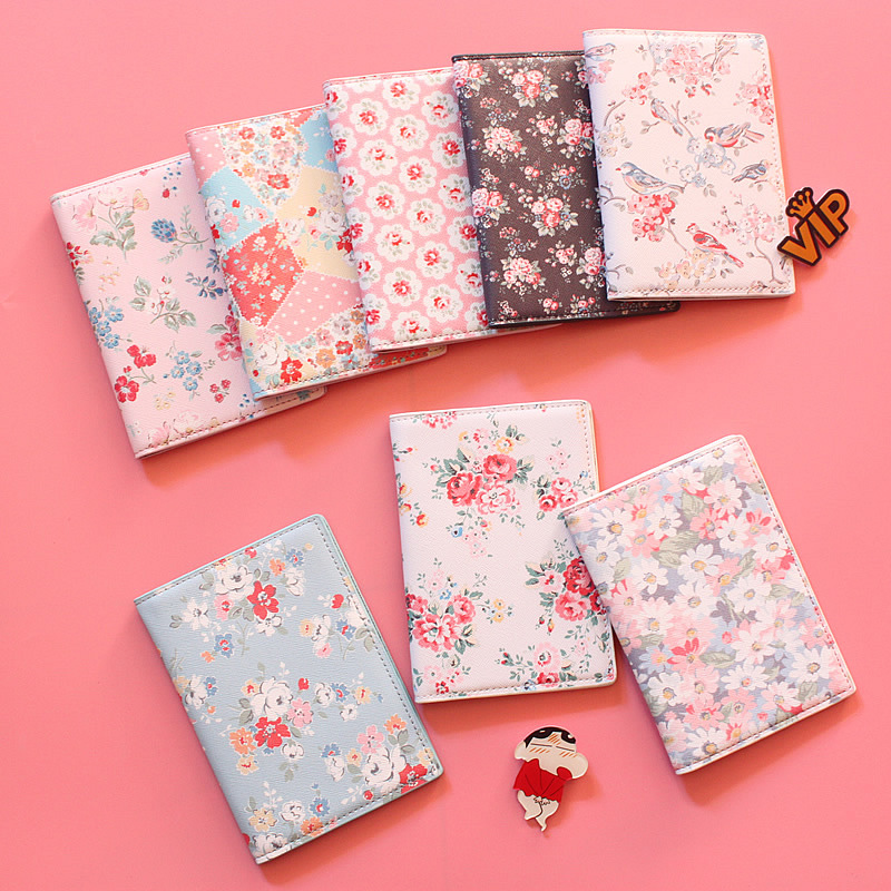 2018 Fashion Floral Print PU Leather Passport Holde,Passport Cover for Travel Card Holder Bag, 22 Style for choose,size 14*10cm fashion new passport holder documents bag pu leather card holder travel passport id cover card case