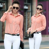 Women S Fashion Long Sleeve Slim Chiffon Button Shoulder Padded Shirt Blouse Tops Pink Green F