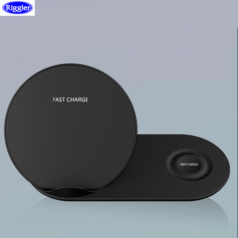 Riggler 2 in 1 Wireless Charger Qi 10W Fast Charging Pad for iphone X XS MAX Apple Watch 1 2 3 4 Samsung Gear 2 3 4Riggler 2 in 1 Wireless Charger Qi 10W Fast Charging Pad for iphone X XS MAX Apple Watch 1 2 3 4 Samsung Gear 2 3 4