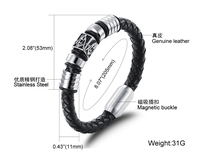 Punk Style High Quality Real Leather Bangle Bracelet With Titanium Steel Magnet Buckle For Men N947