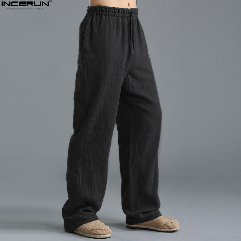 Spring Summer Men Pants Casual Mens Business Trousers Thin Linen Loose Elastic Waist Chinese Style Pants Straight Trousers Men