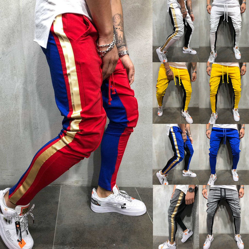 New Autumn Men Slim Fit Trousers Tracksuit Bottoms Stiped Skinny Joggers Long Sweat Pants(China)
