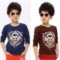 El muchacho camisa de manga larga T-shirt para niños grandes Para Niños Chicos primavera 2015 nuevo respaldo chaleco de la ropa interior de otoño