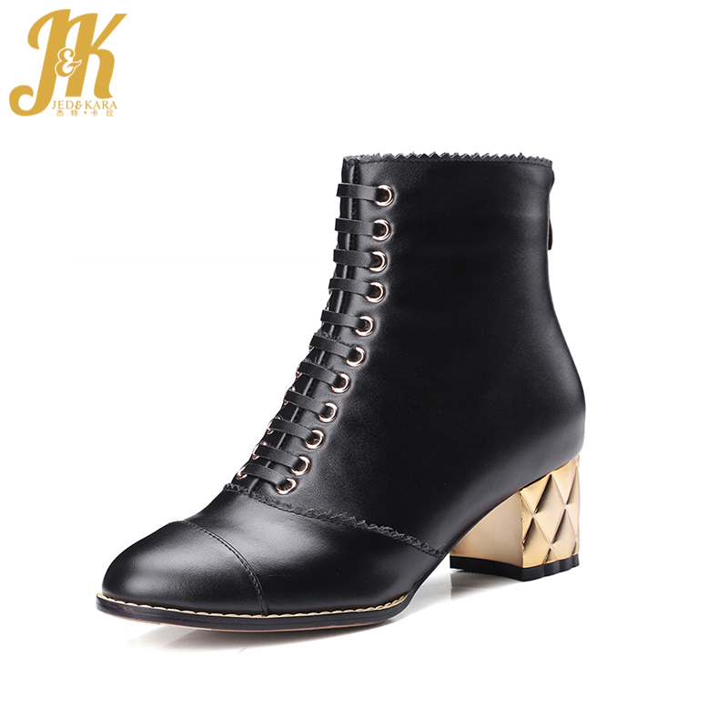 2017 Cow Genuine Leather Ankle Boots Platform Zip Lace Up Thick Heels Fall Winter Boots High Quality Women Shoes Woman high quality lace up nubuck short boots women thick high heels platform shoes woman with fur skid proof fall winter suede boots
