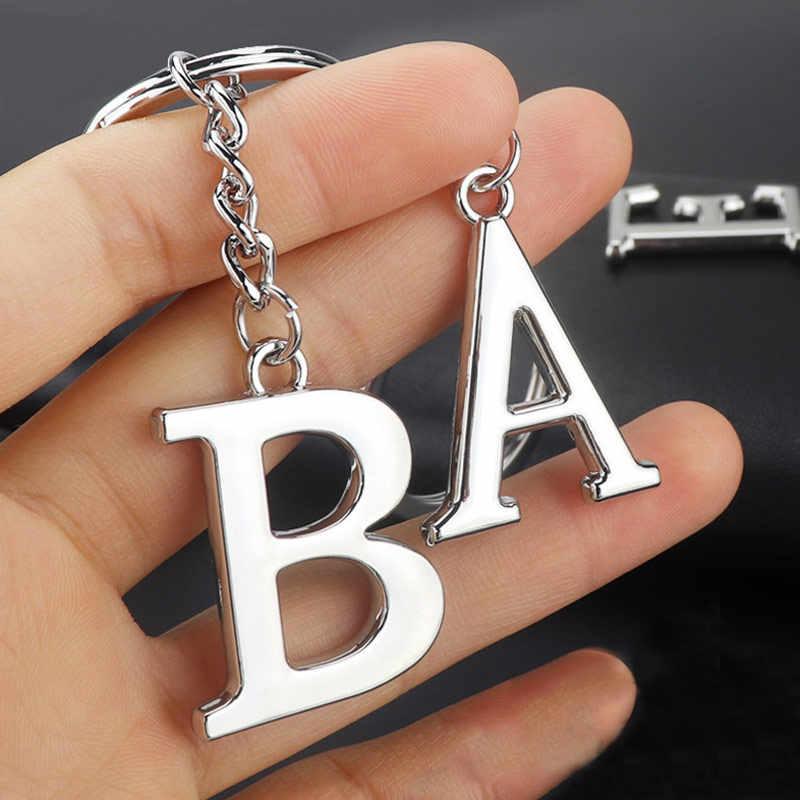 Новинка DIY A-Z буквы брелок для мужчин серебряный металлический брелок для женщин автомобильный брелок простая буква имя держатель для ключей вечерние Подарочные ювелирные изделия