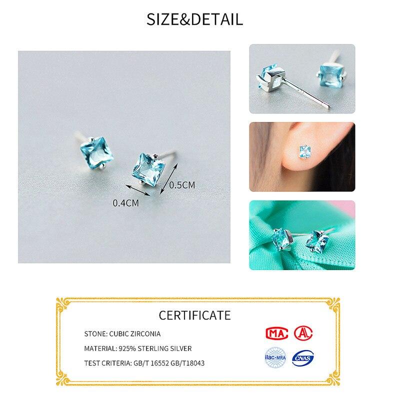 INZATT Classic Blue Zircon Stud Earrings Fashion Minimalist Geometric Jewelry For Women Engagement Trendy 925 Sterling Silver