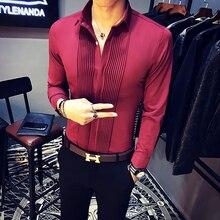 2019 Bahar Yeni Erkek Smokin Gömlek Uzun Kollu Slim Fit Iş Rahat Gömlek Erkekler Moda Katı Parti Gömlek Erkekler Camisa masculina