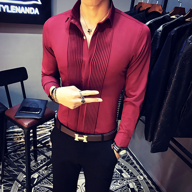 2019 Spring New Men Tuxedo Shirts Long Sleeve Slim Fit Business Casual Shirt Men Fashion Solid Party Shirts Men Camisa Masculina