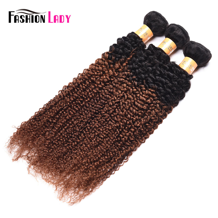 Fashion Lady Pre-Colored Malaysian Hair 3 Bundles Ombre Curly Human Hair Bundles 1b/30 Brown Weave Bundles Non-remy