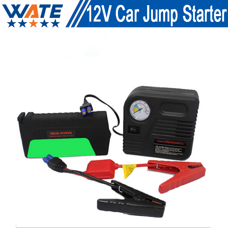 12V large capacty Car Jump Starter Li-ion battery and car charger ln flatable pump safety hammer care mergency power supply