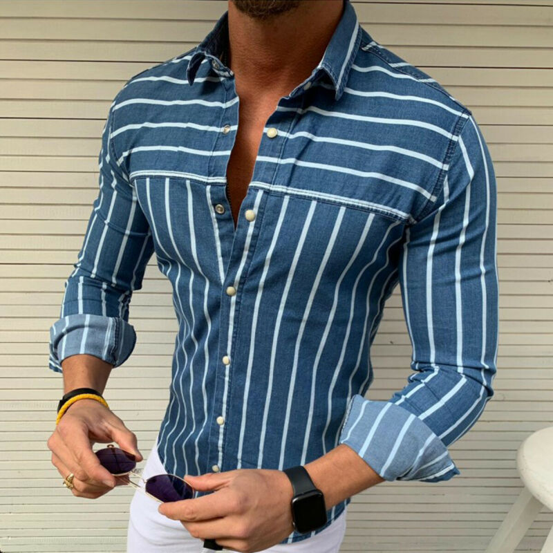 2019 Summer Luxury Fashion Men's Slim Fit Shirt Long Sleeve Male Clothing Casual Shirt Muscle Bodybuilding Tops Streetwear M-2XL