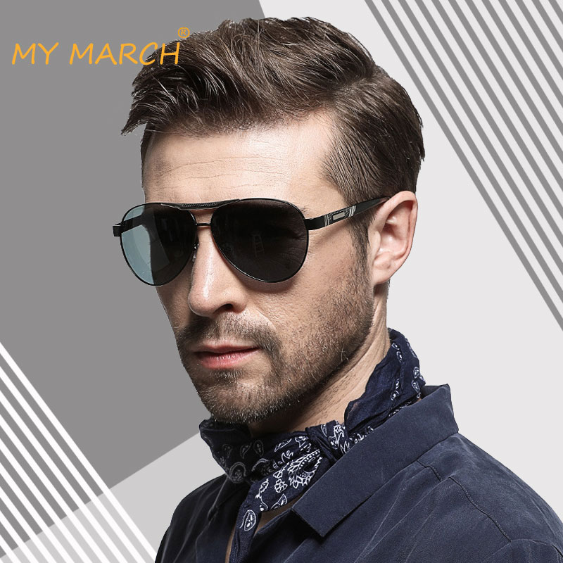 MYMARCH Classic Pilot Men Sunglasses Metal Frame Polarized Sun Glasses For Vintage Driving Shades Oculos De Sol UV400