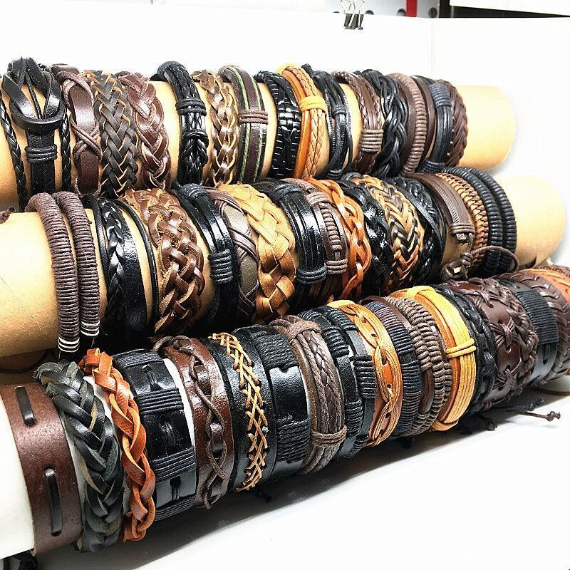 Image 4 - Wholesale 50pcs Leather bracelets and bangles for men women 