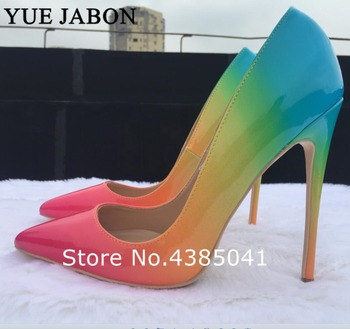 woman shoes 2019 spring autumn fancy women high heels pointed toe sexy stiletto Rainbow Printed Leather Lady Pumps 8 10 12cm
