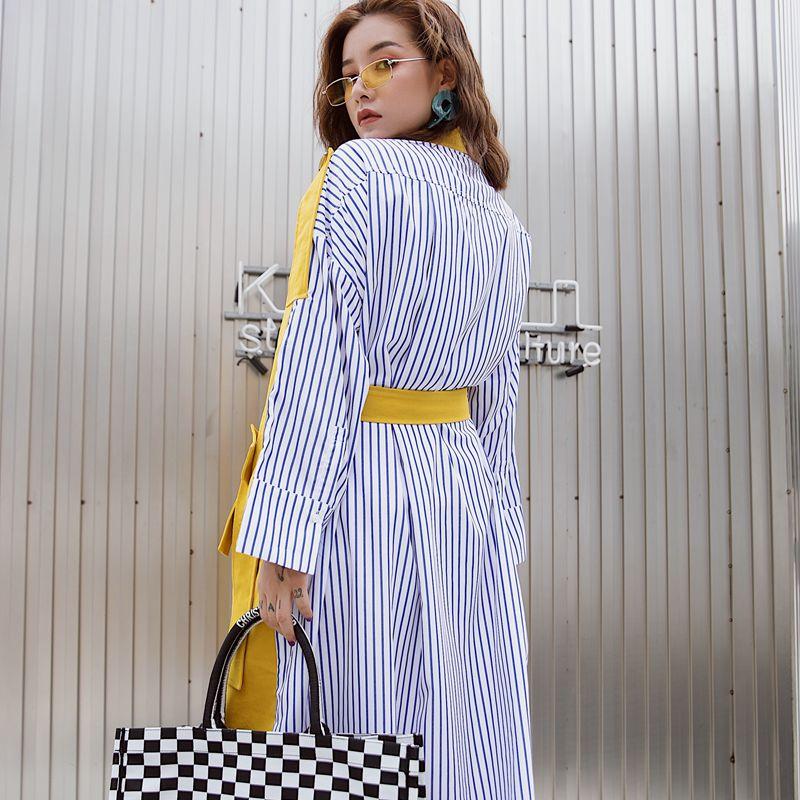 Spring Coat Windbreaker Female Stripe Long Fashion Women's Woman Lady Splice Outwear