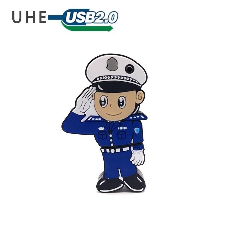 USB Flash Drive Pen Drive Cartoon Police Model Memory Stick Pendrive 32gb Personalizado Gift 4GB 8GB 16GB 64GB Usb Stick