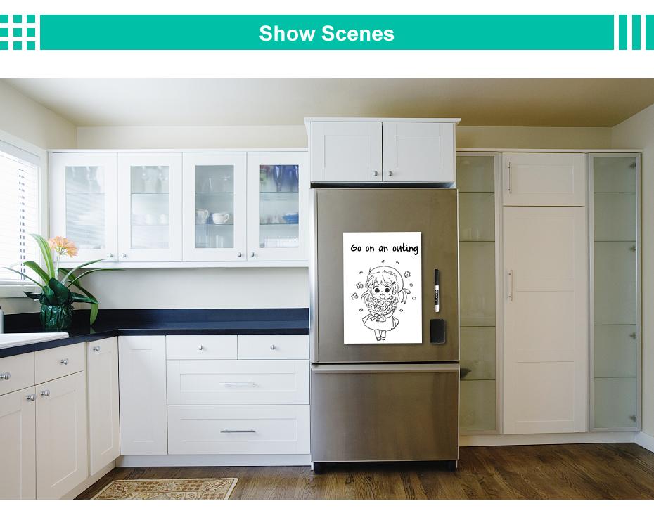 ... Magnetic Whiteboard For Kitchen Fridge Magnetic Board For Refrigerator  Shopping List_08 ...