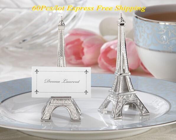 60PCS LOT Unique Wedding decorations of Eiffel Tower Place Card Holder with matching name card