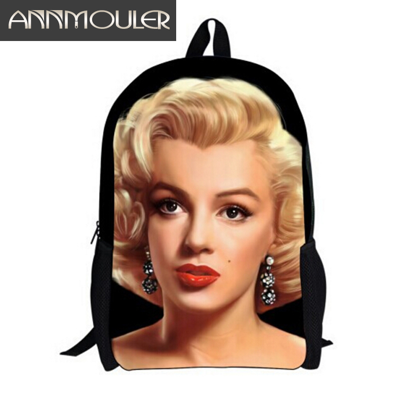 Ny Designer Famous Brand Student 3D Print Flerfärgad Marilyn Monroe Ryggsäckar Mode Women Girl School Blackpack Shoulder Bag