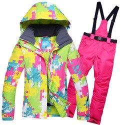 Зимний лыжный костюм, женские брендовые высококачественные лыжные куртки и брюки для женщин, теплые водонепроницаемые ветрозащитные лыжны...