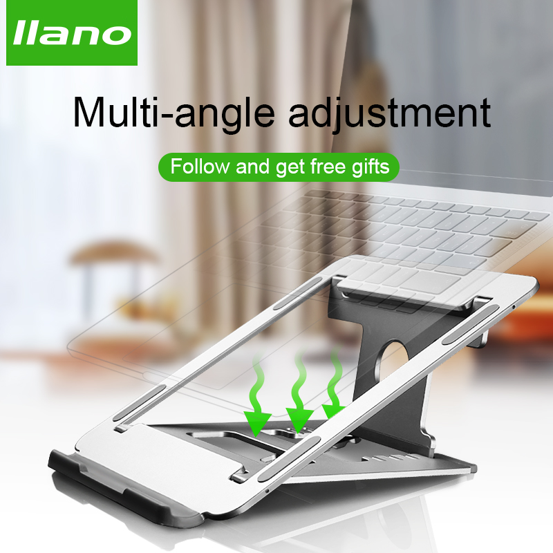 De aluminio de plata soporte para ordenador portátil Tablet soporte Universal para Apple MacBook Air Pro 11-15 pulgadas plegable ajustable Oficina portátil