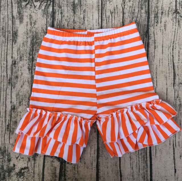 Solid Hot Sale Color Shorts Double Ruffled cotton baby Outfit Dance ...