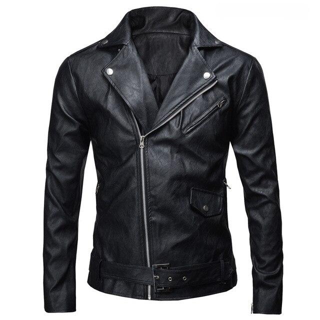 PU Leather Jacket Thời Trang của Nam Giới Mùa Xuân Mùa Thu Slim Fit Xe Máy Jacket Với Zipper Giản Dị Nam Coat Áo Khoác Áo