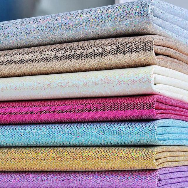 1 Meter Rainbow Glitter Fake Leather Fabric Decorative Vinyl Material For  Flash Furniture Chairs Bow Diy
