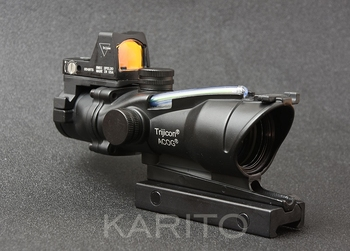 Tactical trijicon ACOG style 4x32 green Fiber Optics rifle scope and rmr 1x red dot sight scope hunting shooting M9986