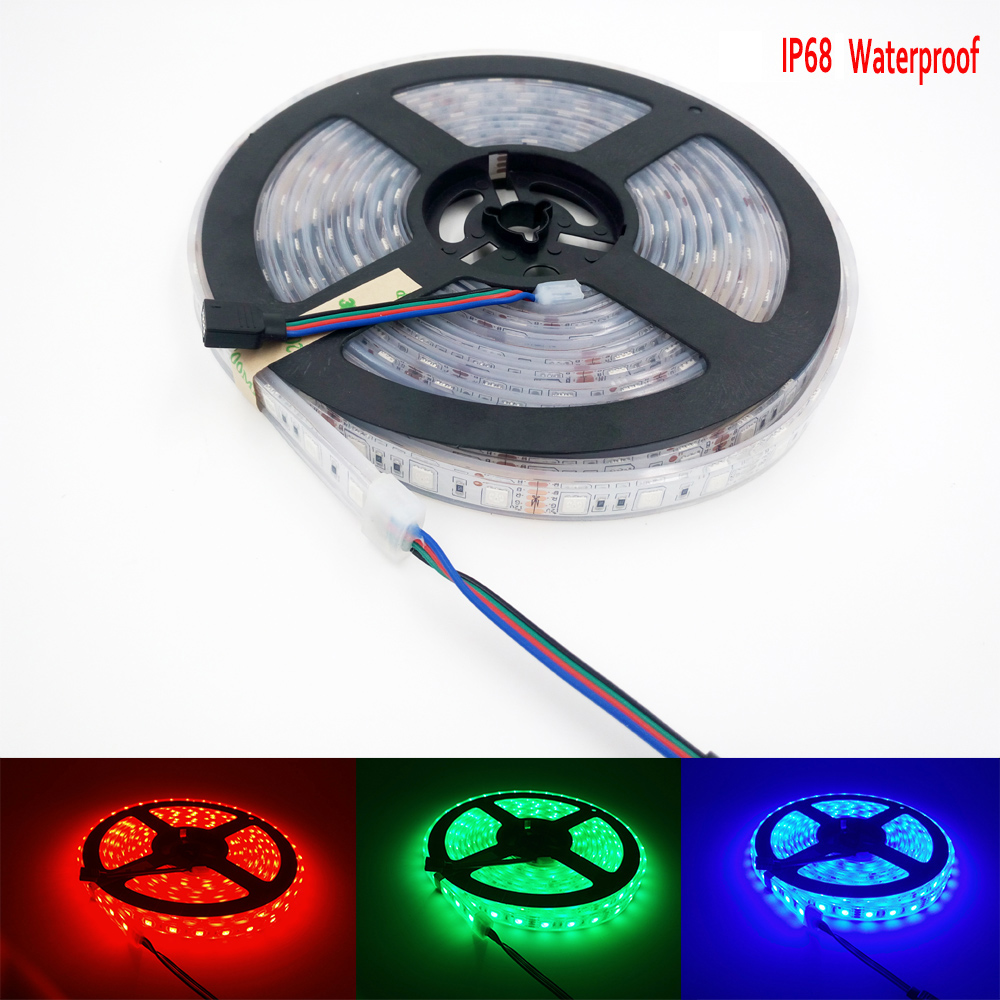 12V 5M 5050 LED Strip RGB Vattentät IP65 IP67 IP68 IP20 Belysning Tape Led Strip Under Skåpbelysning Hardwired Pool Lighting